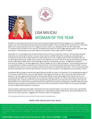 Lisa Milicaj_AAWO Woman of the Year_2016 Rev